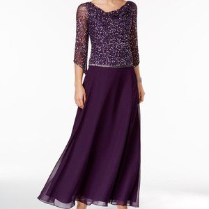 NWT J Kara Full Length Purple Gown with Sequins and Beads